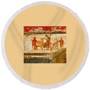 Herculaneum Wall Painting Round Beach Towel