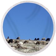 Herd In The Atlas Mountains 02 Round Beach Towel