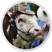 Hereford Bull With Akubra Hat In Hyde Park Round Beach Towel