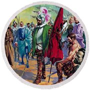 Hernando Cortes Arriving In Mexico In 1519 Round Beach Towel