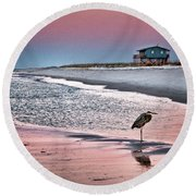 Heron And Beach House Round Beach Towel
