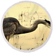 Heron Fishing Round Beach Towel
