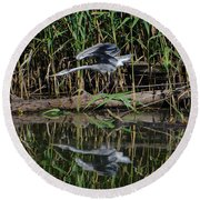 Heron Reflected In The Water Round Beach Towel