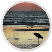 Heron Waiting For The Sunrise Round Beach Towel