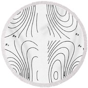 Hertzs Flux Lines Round Beach Towel by Science Source