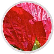 Hibiscus Blossom In Red Round Beach Towel