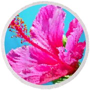 Hibiscus Crystal Luster Round Beach Towel