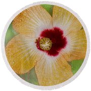 Hibiscus Gold And Red Round Beach Towel