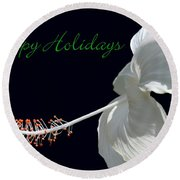 Hibiscus Holiday Card Round Beach Towel