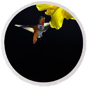 Hibiscus Hummer On Black Round Beach Towel