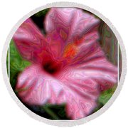 Hibiscus With A Blurred Enamel Effect Round Beach Towel