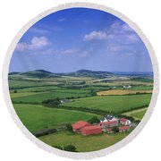 High Angle View Of Fields, Stradbally Round Beach Towel