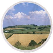 High Angle View Of Patchwork Fields Round Beach Towel