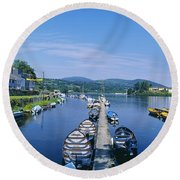 High Angle View Of Rowboats In The Round Beach Towel
