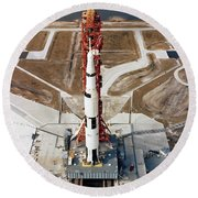 High-angle View Of The Apollo 10 Space Round Beach Towel