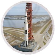 High Angle View  Of The Apollo 14 Space Round Beach Towel