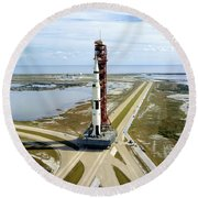 High Angle View  Of The Apollo 14space Round Beach Towel
