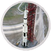 High Angle View  Of The Apollo 15 Space Round Beach Towel