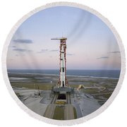 High-angle View Of The Apollo 8 Round Beach Towel