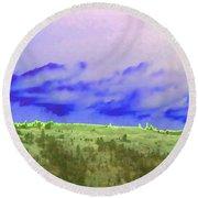 High Green Pastures  Round Beach Towel