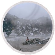High In The Himalayas Round Beach Towel