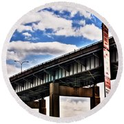 High In The Skyway Round Beach Towel
