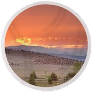 High Park Wildfire At Sunset Round Beach Towel