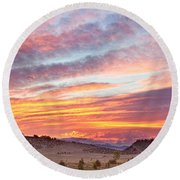High Park Wildfire Sunset Sky Round Beach Towel