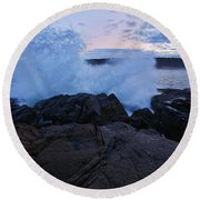 High Tide At Dusk Round Beach Towel