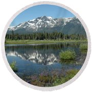 High Water Mt Tallac Reflections Round Beach Towel