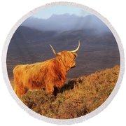 Highland Cattle Landscape Round Beach Towel
