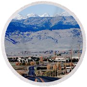 Highway 52 End Of The Line Round Beach Towel