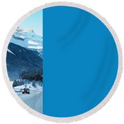 Highway In Winter Through Mountains Round Beach Towel