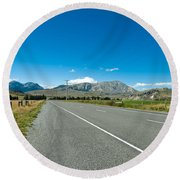 Highway Towards Panoramic Mountain Round Beach Towel