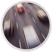 Highway Traffic In Motion Round Beach Towel