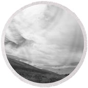 Hillside Meets Sky Round Beach Towel