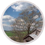 Hillside Weathered Barn Dramatic Spring Sky Round Beach Towel