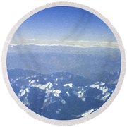 Himalayas Blue Round Beach Towel