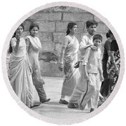 Hindu Pilgrims In Madurai Round Beach Towel