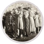 Hine: Child Labor, 1910 Round Beach Towel