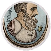 Hipparchus, Greek Astronomer Round Beach Towel by Photo Researchers, Inc.