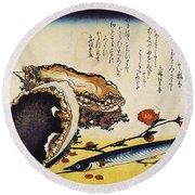 Hiroshige: Color Print Round Beach Towel