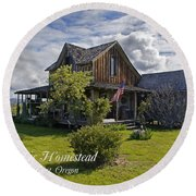 Historic 1870 Marvin Wood House With Text Round Beach Towel
