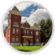 Historic Courthouse Marysvale Utah Round Beach Towel