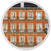 Historic Facade At Plaza Mayor In Madrid Round Beach Towel