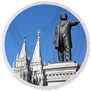 Historic Salt Lake Mormon Lds Temple And Brigham Young Round Beach Towel