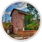 Historic Woods Grist Mill Round Beach Towel