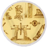 Historical Astronomy Instruments Round Beach Towel