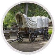 Historical Frontier Covered Wagon Round Beach Towel