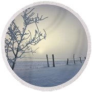Hoar Frost Covering Trees And Barbed Round Beach Towel